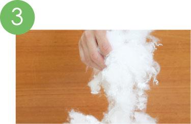 洗濯しても偏りにくい特殊な綿を使用